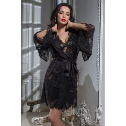 Кружевной халат Chanell 2023 black