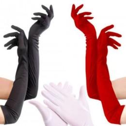 Перчатки выше локтя красные