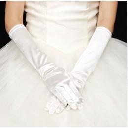 Перчатки атласные до локтя белый